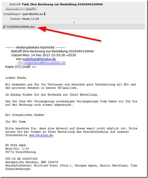 Bestellung Auf Rechnung by Trojaner Warnung Hd Plus De Rechnung Zur Bestellung