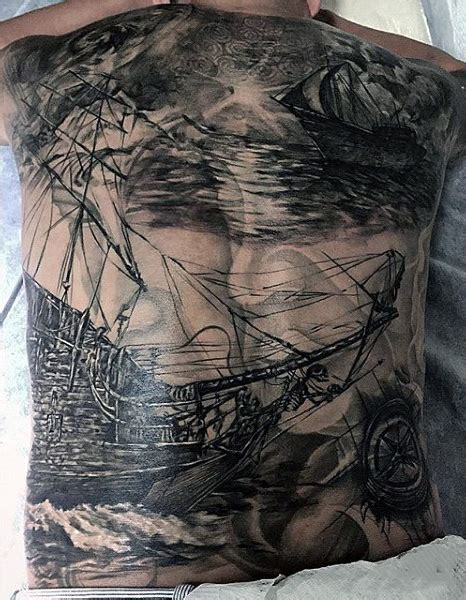 tattoo back ship 70 ship tattoo ideas for men a sea of sailor designs