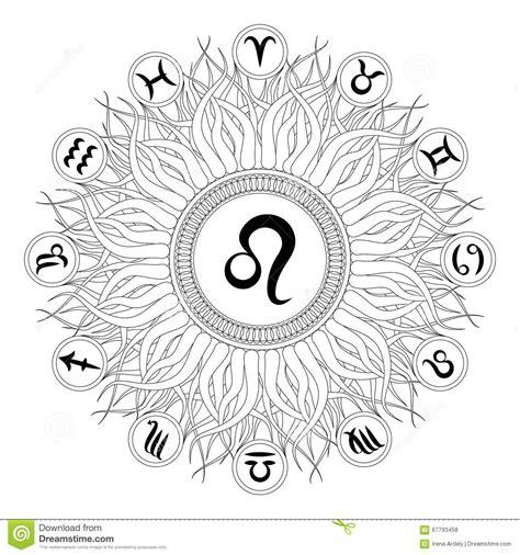 zodiac mandala coloring pages black and white round mandala with zodiac symbol of leo