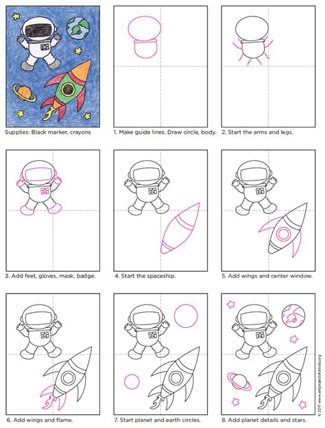 how to make space draw an astronaut art projects for kids