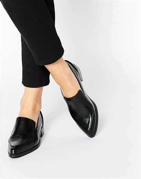 flat pointed shoes lyst asos pointed flat shoes in black
