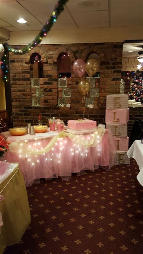 girl baby shower table decorations pink and gold themed table for baby shower baby shower