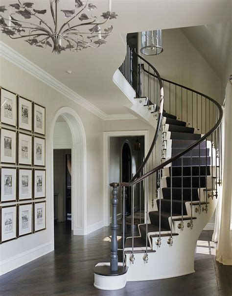 Entry Stairs Design Black And White Stripe Stair Runner Contemporary Entrance Foyer Sally Wheat Interiors