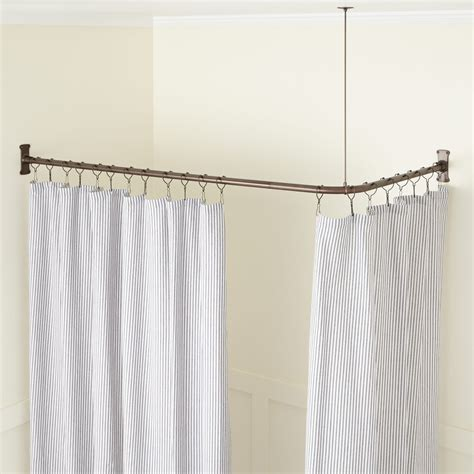 corner curtain rod corner solid brass commercial grade shower curtain rod
