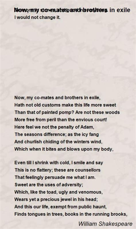 biography poem exle now my co mates and brothers in exile poem by william