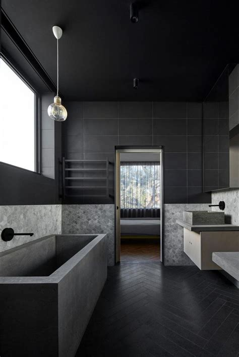 black bathrooms ideas  pinterest concrete