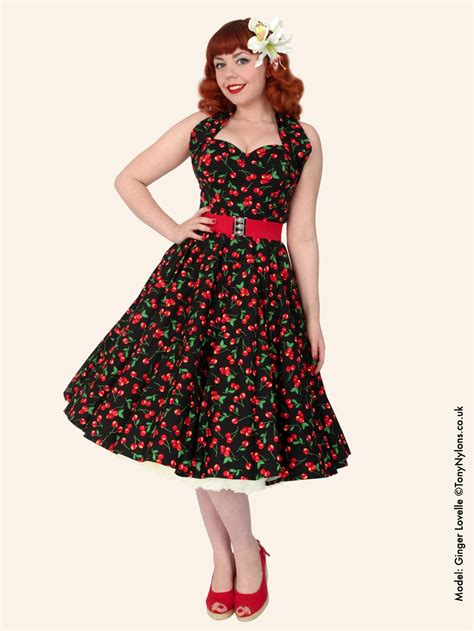 Dress Chery 1950s halterneck black cherry cotton dress from vivien of