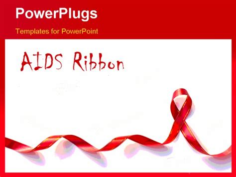 aids template powerpoint template a ribbon and a text that