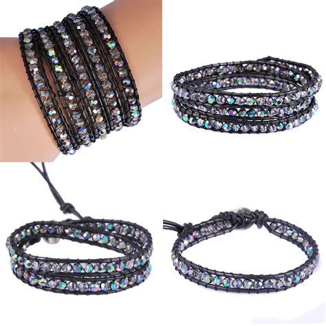 Handmade Wrap Bracelets - 4 size choose glass handmade leather wrap