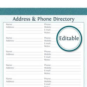 Phonebook Template by Address Phone Directory Fillable Printable Pdf Instant