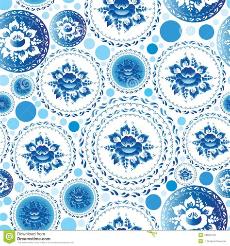 vintage shabby chic seamless pattern with blue flowers and