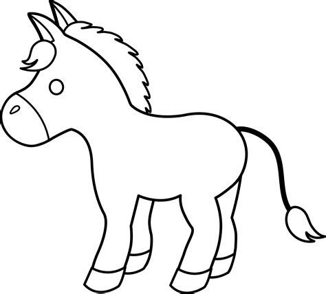 donkey picture coloring page cute donkey line art free clip art