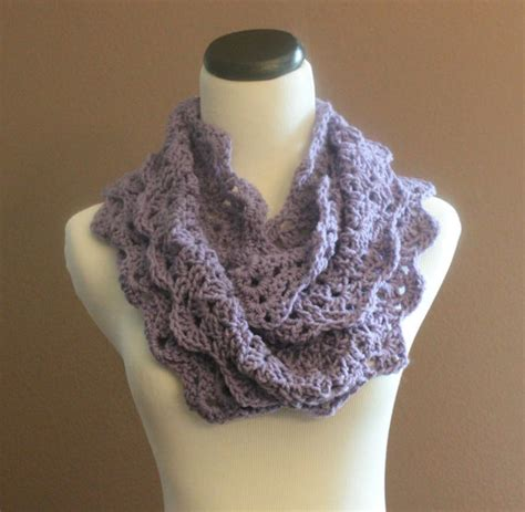 chunky crochet infinity scarf lace thick cowl neckwarmer