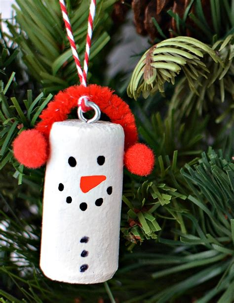 wine cork christmas tree ornaments diy wine cork snowman tree ornaments