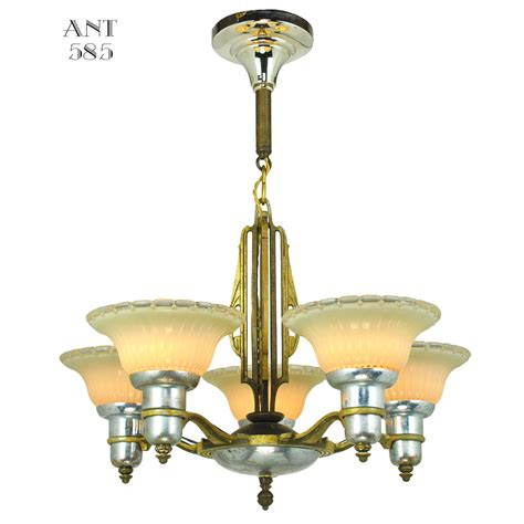 Deco Lighting Fixtures Deco Streamline Chandelier 5 Arm Light Fixture By Mid West Mnf Ant 585 For Sale Antiques