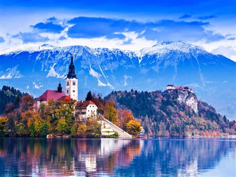 lake bled slovenia island castle mountains beautiful