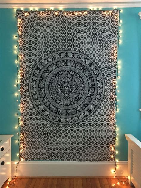 black  white wall tapestry  string lights