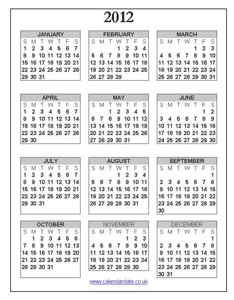 2012 calendar template 2012 calendar uk calendardate co uk