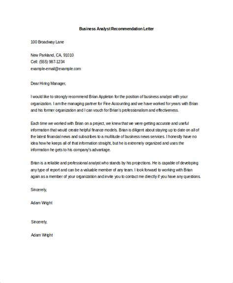 Recommendation Letter Sle For Business Analyst Sle Letter Of Recommendation 20 Free Documents In Word Pdf
