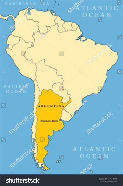 south america map buenos aires argentina locator map country capital city stock vector
