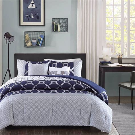 Navy Blue And Gray Bedding by Xl Bed Navy Blue Gray White Geometric 5 Pc
