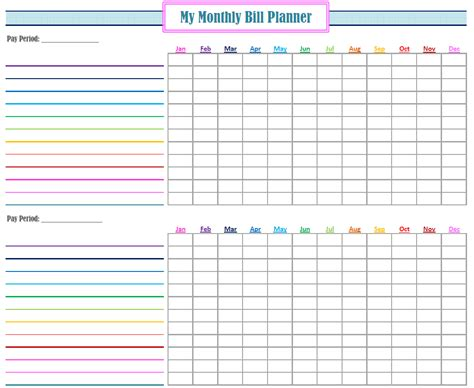 New Monthly Bill Planner Free Bill Planner Template