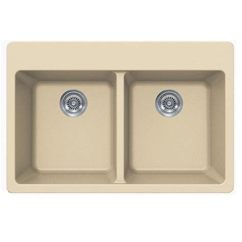 Beige Kitchen Sinks Beige Quartz Composite Bowl Undermount Drop In Kitchen Sink 33 X 22 X 9 Inch
