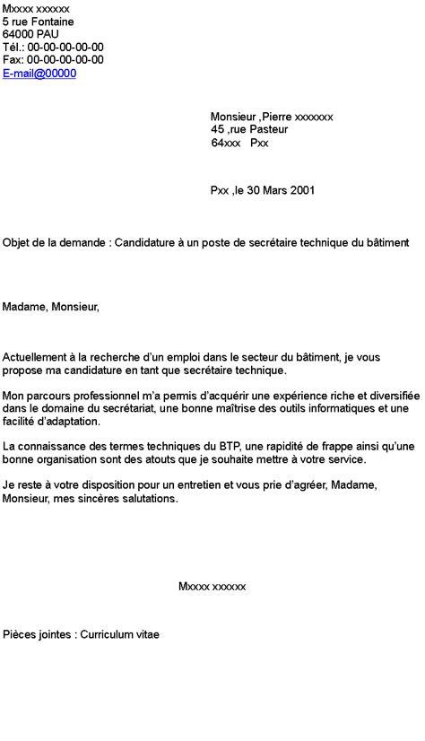 Exemple De Lettre De Motivation Btp lettre de motivation secr 233 taire exemple lettre de demande