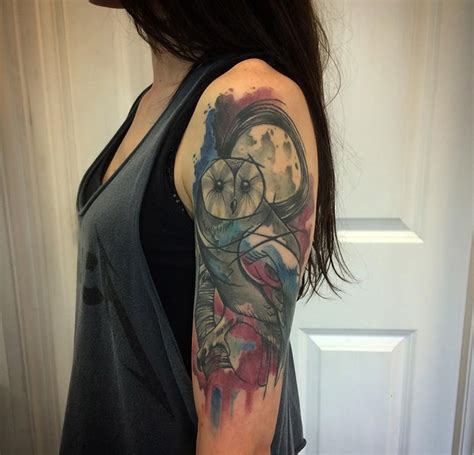 watercolor tattoo in london abstract owl arm best design ideas