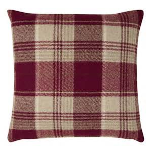 Checked Cushions Cranbourne Wool Check Cushion Cranberry At