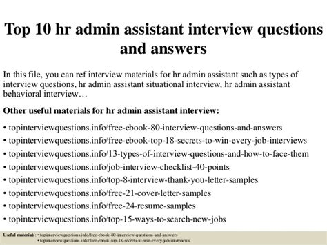 top 10 hr admin assistant questions and answers