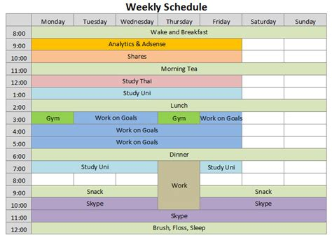 weekly daily schedule template free weekly schedule template