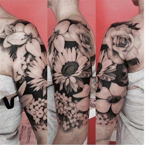 black and gray flower tattoos black and grey floral sleeve by by matteo pasqualin