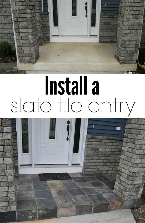 Installing Slate Tile How To Install A Slate Tile Entry Home To Home Diy Home To Home Diy