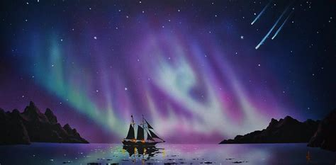 Colorful Home Decor by Aurora Borealis From A Ship Painting By Thomas Kolendra