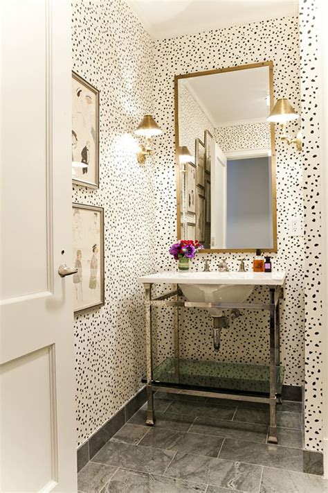 wall paper bathroom small powder room ideas amber interiors
