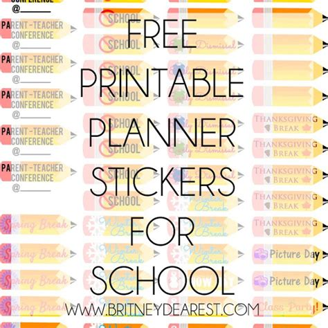printable school planner stickers britney dearest free printable planner stickers for school