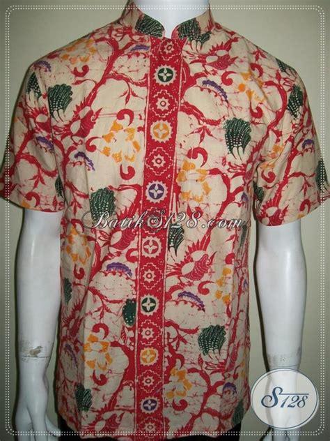 Kemeja Batik Pria Kerah Sanghai kemeja batik kerah shanghai koko lengan pendek til elegan dan exclusive kemeja batik