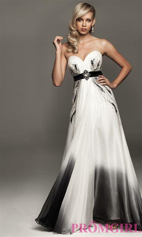 White And Black Dress strapless black and white dress promgirl