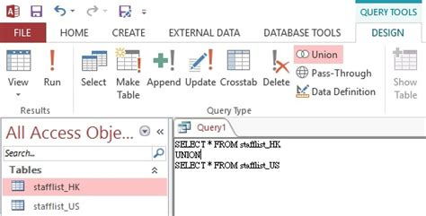 2016 Access Query Command For Finding Mba In A Name by Microsoft Access Union And Union All