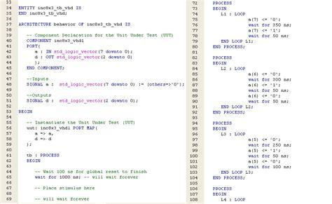 test bench in vhdl 시스템분석및설계 7 8장 3선8선 디코더 4입력 멀티플렉서 결과보고서