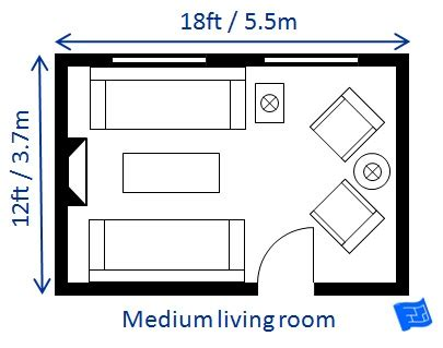 average size of living room living room size