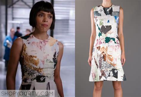Camille Saroyan Wardrobe by Bones Season 9 Episode 14 Camille S Collage Print Dress Shop Your Tv