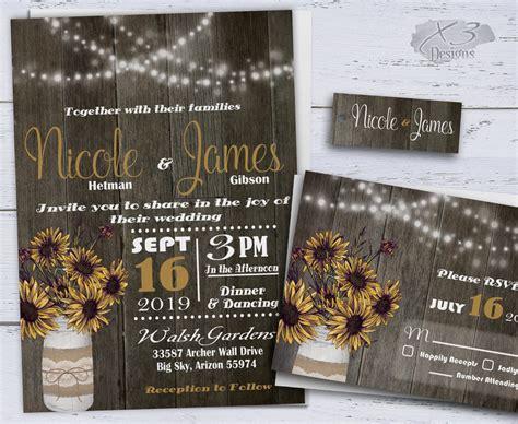 printable country wedding invitations sunflower wedding