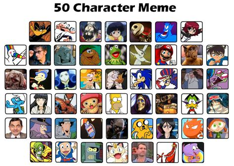 All Meme Characters - javidluffy s 50 character meme by javidluffy on deviantart