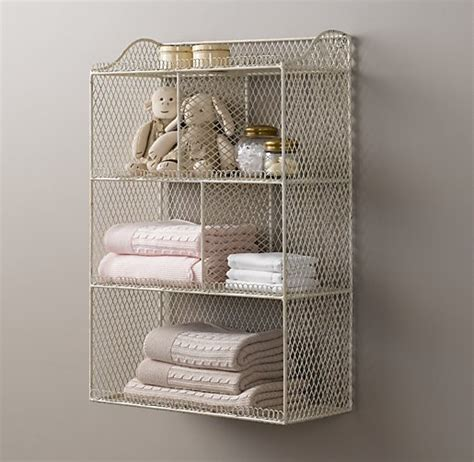 vintage wire cubby shelf white