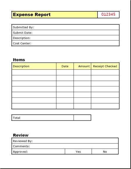 elegant and simple expense report form and template