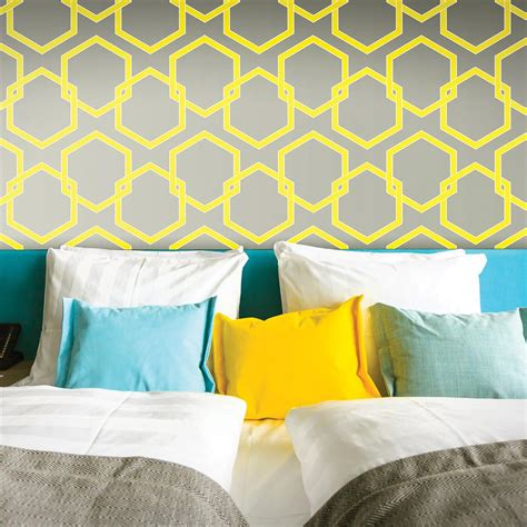 honeycomb gray designer removable wallpaper honeycomb industrial loft grey yellow white removable
