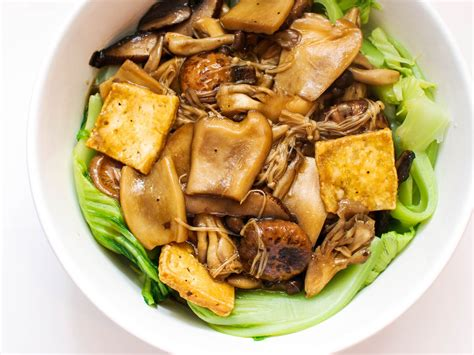 mushrooms  tofu  chinese mustard greens recipe