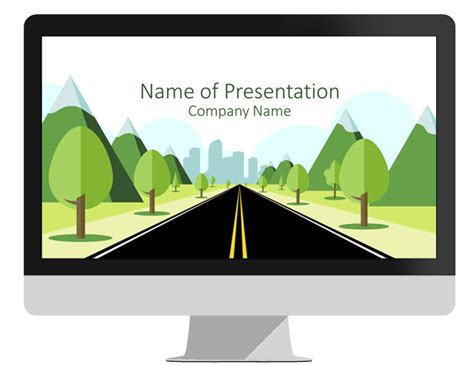 powerpoint template road road to city powerpoint template presentationdeck